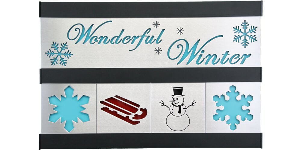 Winter/Sled/Snowman 2 Row w/Black Frame