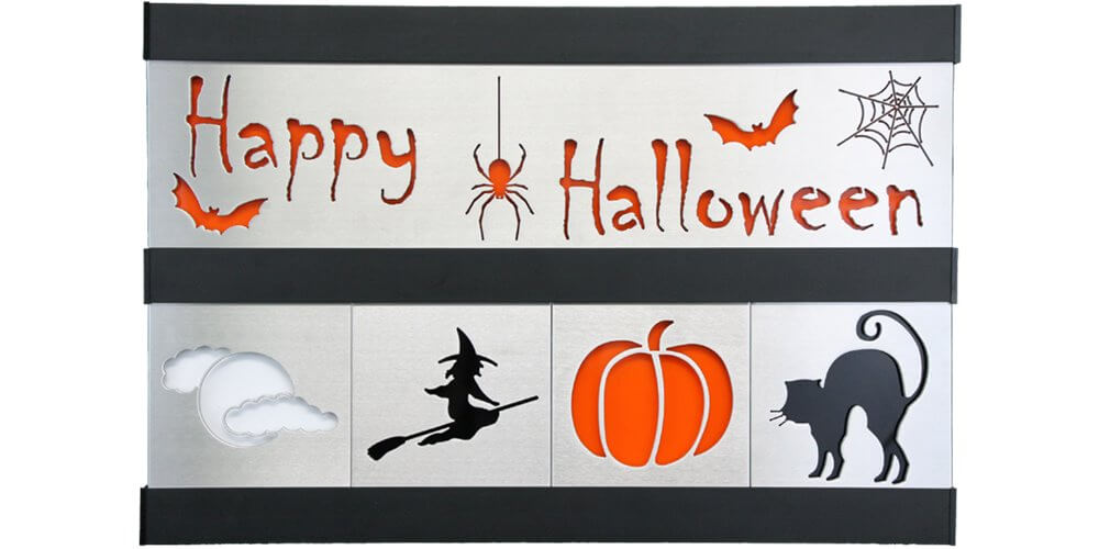 Halloween/Cat/Witch 2 Row w/Black Frame