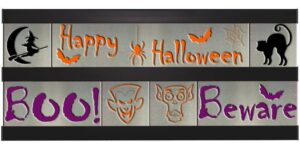 Halloween/Boo/Beware 2 Row w/Black Frame