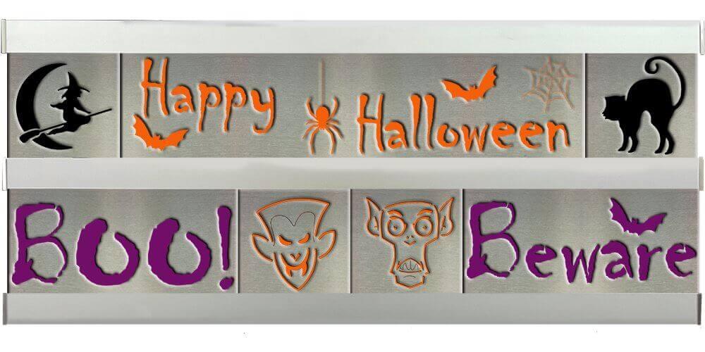 Halloween/Boo/Beware 2 Row w/Silver Frame