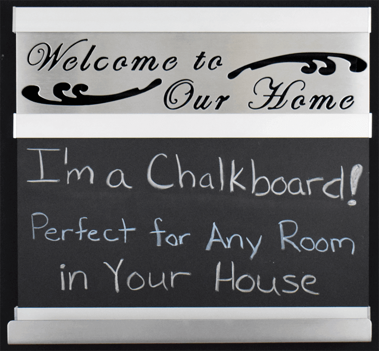 welcome to our home chalkboard small silver frame metal signs