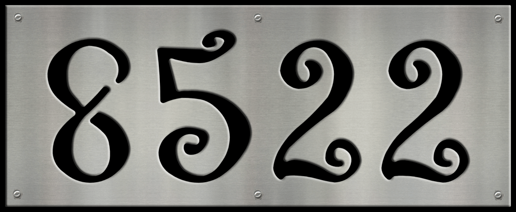 MS250-00063-0820 [4 Digit Address Sign – Curly] BP